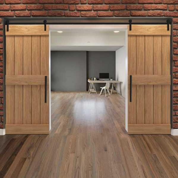 Real Solid Hardwood Centre Brace Double Sliding Barn Door