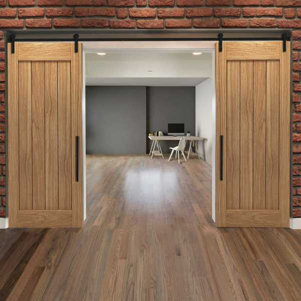 Real Solid Hardwood Vertically Double Sliding Barn Door WD-0024