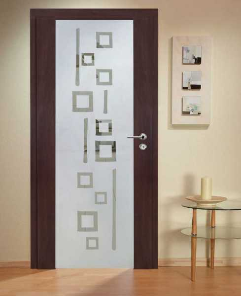 Solid Wood Hinged Door with Glass Insert HWDI-0021