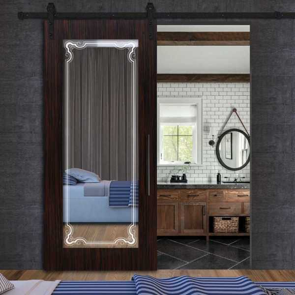 Sliding MR MDF veneered barn door with mirror insert (frosted design) and carbon steel sliding systemSliding MR MDF veneered barn door with mirror insert (frosted design) and carbon steel sliding system
