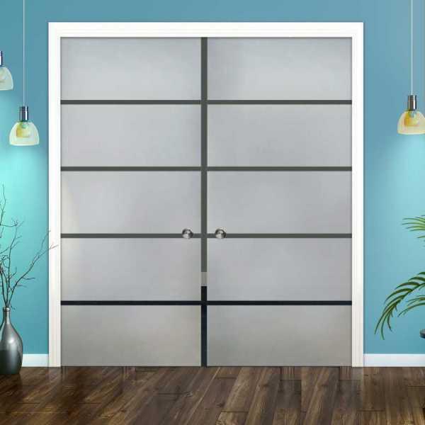 Double Pocket Glass Barn Door (Model DPSGD-0030 Semi-Private)_Recessed Grip Handle