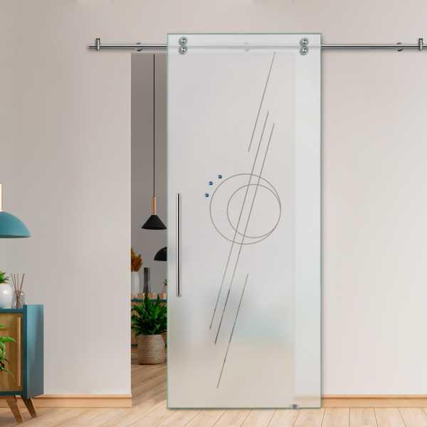 Glass Barn Door (Model SGD-V2000-0208 Semi-Private)