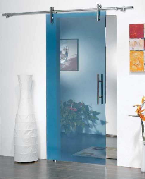 "47'' x 96'' Inches XXL Sliding Glass Barn Door Tinted Glass + Artik Blue ""Open Box"""