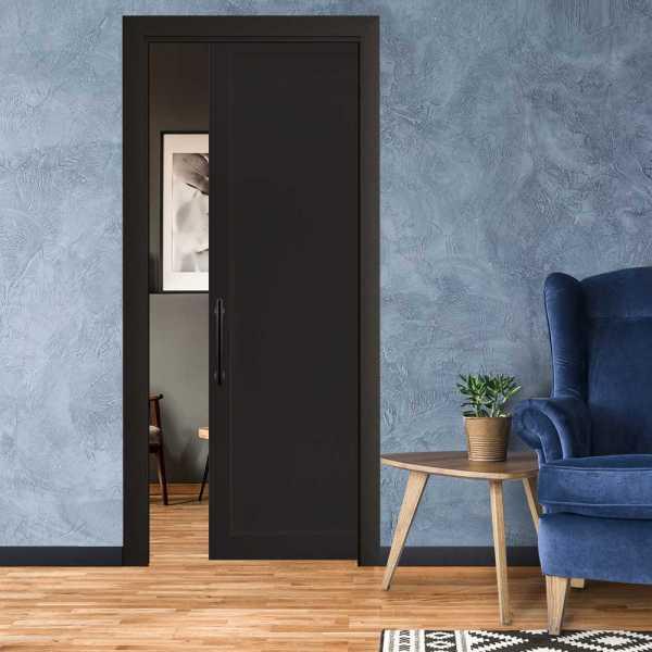 Industrial Style Pocket Door with a Carbon Steel Handle