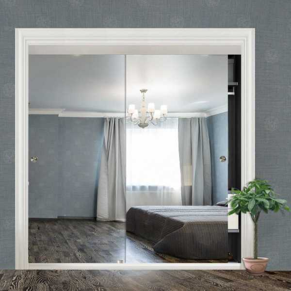 "Frameless 2 Leaf Sliding Closet Bypass Mirror Door 72"" CMD-0036"