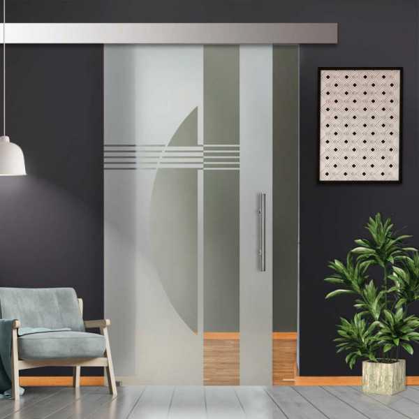 Glass Barn Door (Model SGD-ALU100-0212 Semi-Private)