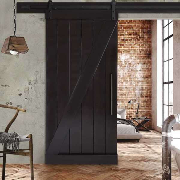 "Pine Wood Z Sliding Barn Door with Wenge Stain 29""x84"" WDLAGER-0004"