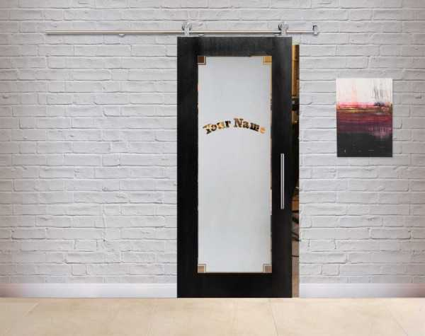Customized Veneered Sliding MDF-Glass Barn Door VWGD-0065