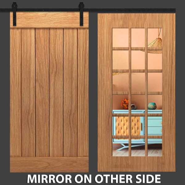 Hybrid Ona Panel Barn Door with Mirror Insert and Six Panel Frame