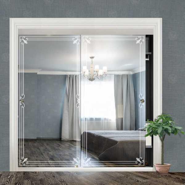 """Frameless 2 Leaf Sliding Closet Bypass Mirror Door 48"""" CMD-0025"""