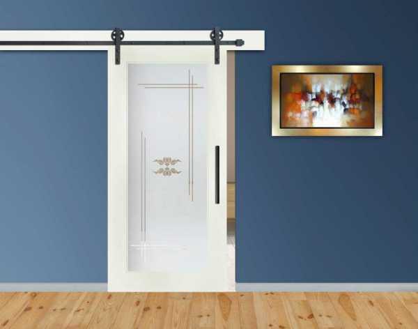 1 Lite MDF Sliding Barn Door with Glass Insert WGD-0008