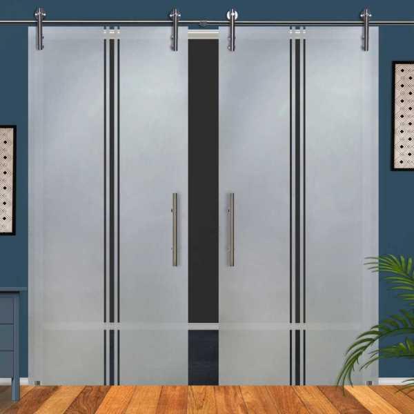 Double Glass Barn Door (Model DSGD-V1000-0058 Semi-Private)
