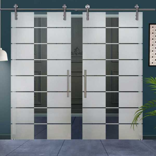 Double Glass Barn Door (Model DSGD-V1000-0026 Semi-Private)