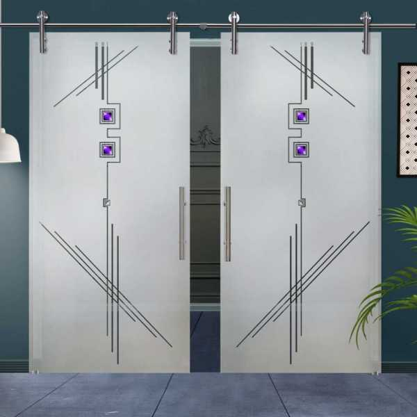 Double Glass Barn Door (Model DSGD-V1000-0019 Semi-Private)