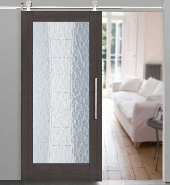 Veneer Wood Rain-Glass Barn Door WRGD-0002