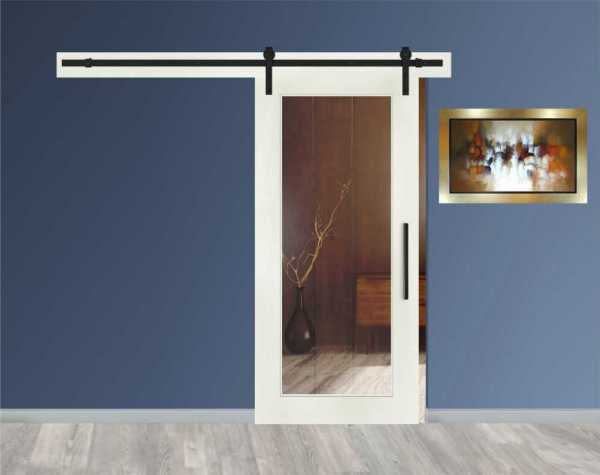 1 Lite MDF Sliding Barn Door with Glass Insert WGD-0017