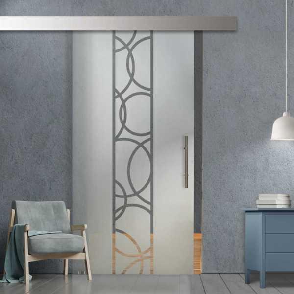 Glass Barn Door (Model SGD-ALU100-0241 Semi-Private)