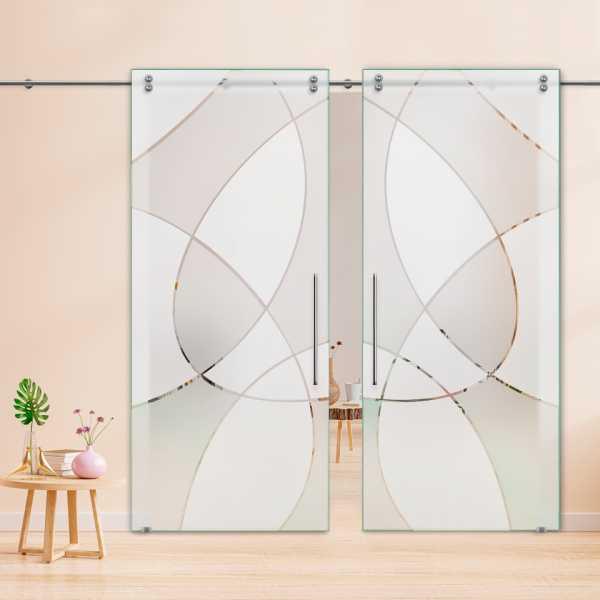Double Sliding Glass Barn Door DSGD-V2000-0026
