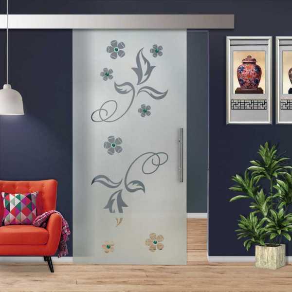 Glass Barn Door (Model SGD-ALU100-0250 Semi-Private)