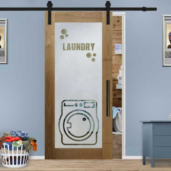 Laundry Room Real Solid Hardwood Sliding Door with Glass Insert CWGD-0002