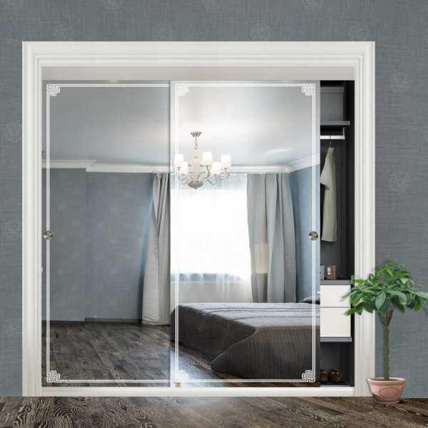 """Frameless 2 Leaf Sliding Closet Bypass Mirror Door 60"""" CMD-0011"""