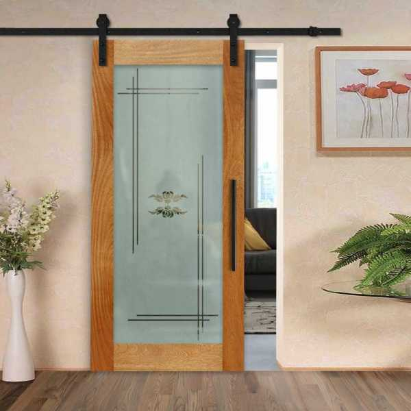 Real Solid Hardwood Sliding Barn Door with Glass Insert WGD-0020