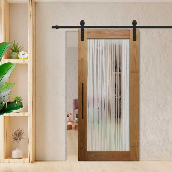 Oak Wood Wood-Glass Barn Door with Glass Insert + Semi-Private Desgin