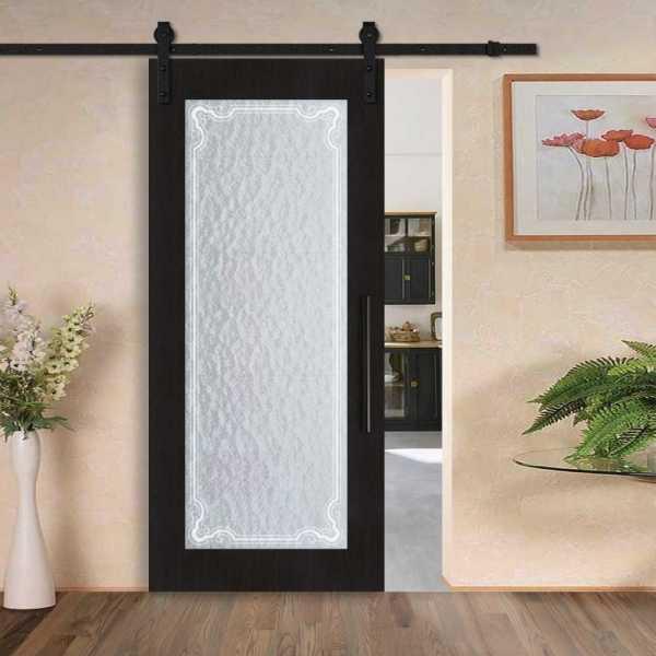 Veneered Sliding MDF-Aquatex Wood Barn Door with Glass Insert VWGD-0013