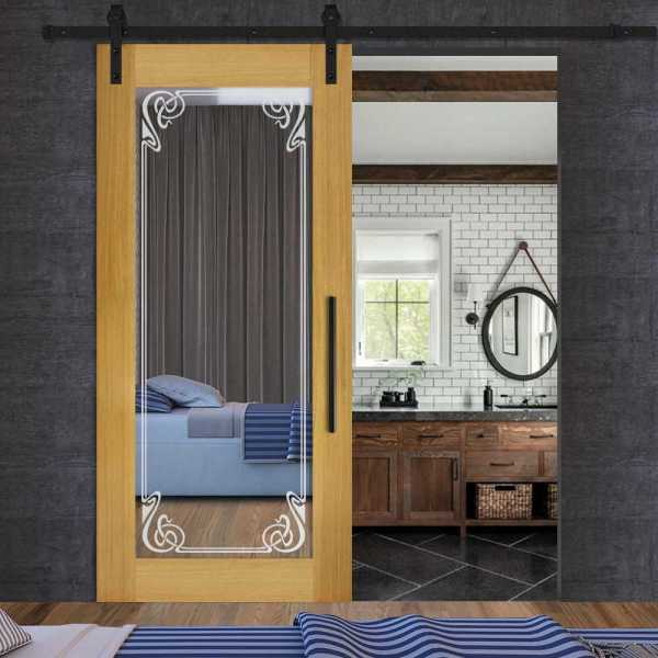 Solid New Zealand oak wood door with mirror insert (frosted design) and carbon steel sliding system