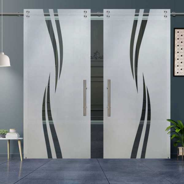 Double Sliding Glass Barn Door DSGD-V2000-0016