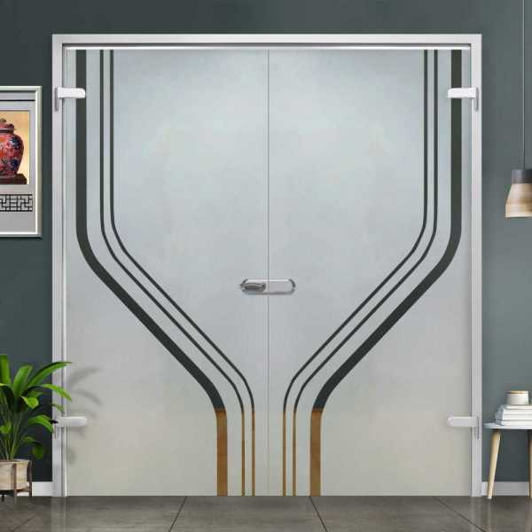 Double Hinged Glass Door (Model H-H+DHGD-0012 Semi-Private)