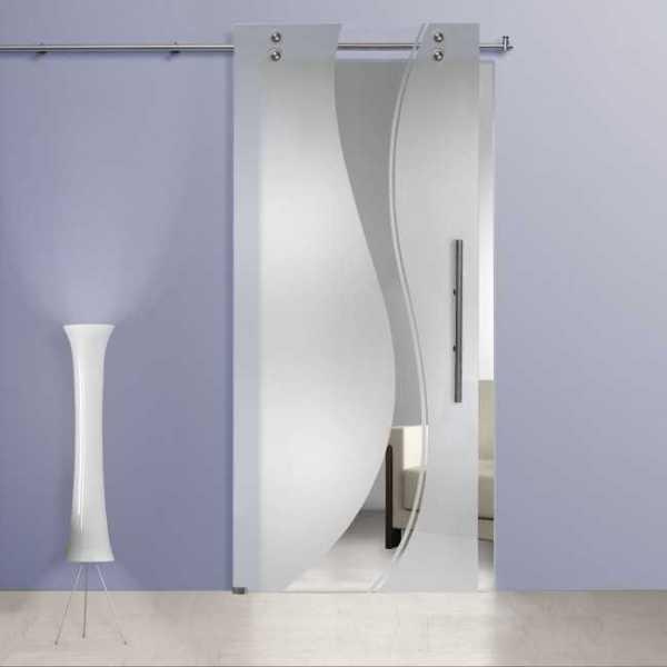 Frameless Sliding Glass Door / Frosted-Sandblasted + Wide Line Design