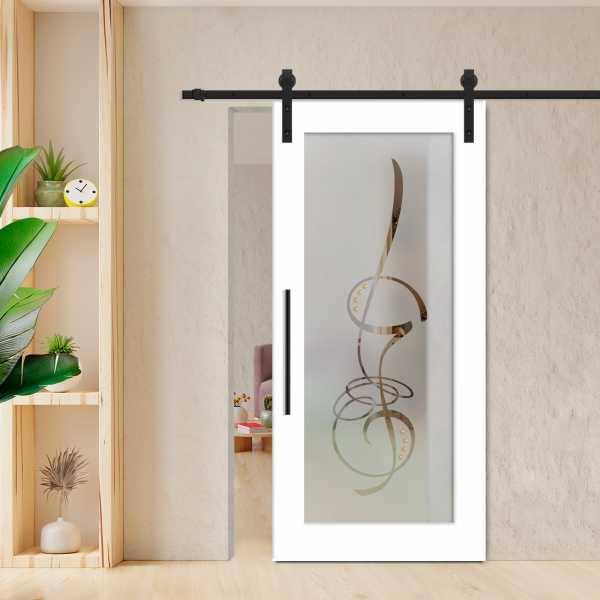 Sliding Barn Door (Model WGD-0003 Semi-Private) with Carbon Steel Hardware