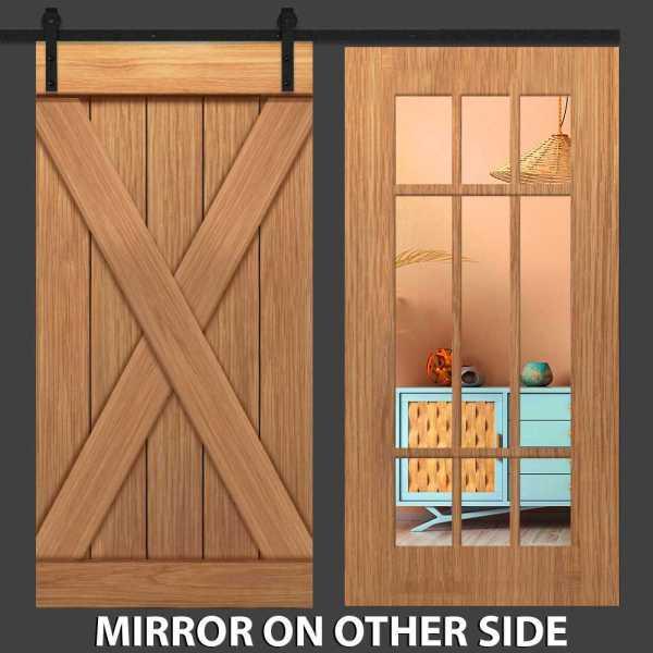 Hybrid X Barn Door With Mirror Insert and Three Panel Frame
