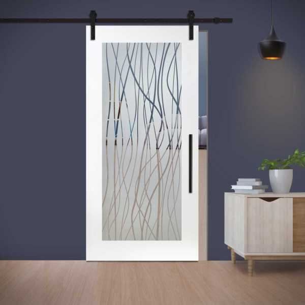 MR MDF Sliding Barn Door with glass insert (semi-private frosted design) and carbon steel sliding system