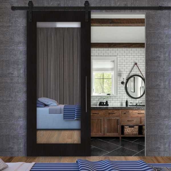 Sliding MR MDF wenge veneered barn door with mirror insert and carbon steel sliding system