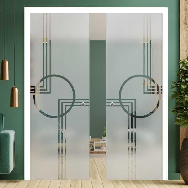 Double Pocket Glass Barn Door (Model DPSGD-0073 Semi-Private)_Recessed Grip Handle
