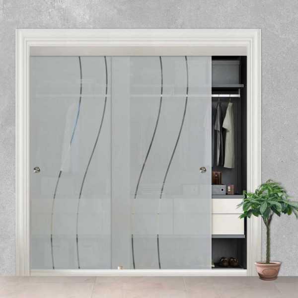 """2 Leaf Sliding Closet Bypass Glass Door 72"""" CGD-0003"""