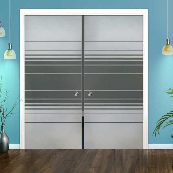 Double Pocket Glass Barn Door (Model DPSGD-0059 Semi-Private)_Recessed Grip Handle
