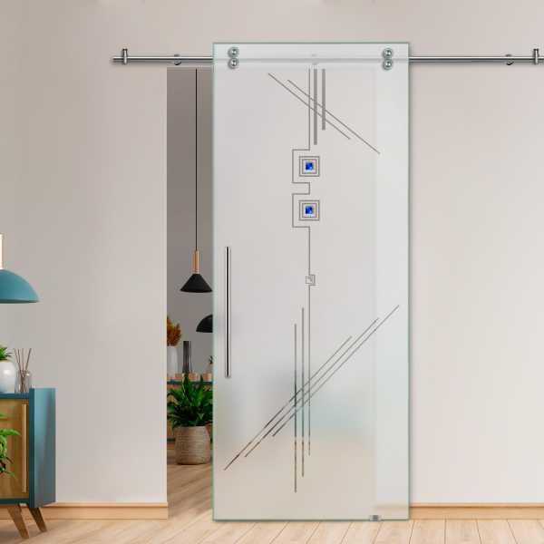 Glass Barn Door (Model SGD-V2000-0207 Semi-Private)
