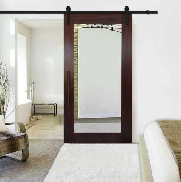 Solid white ash sliding barn door with mirror insert and carbon steel sliding system