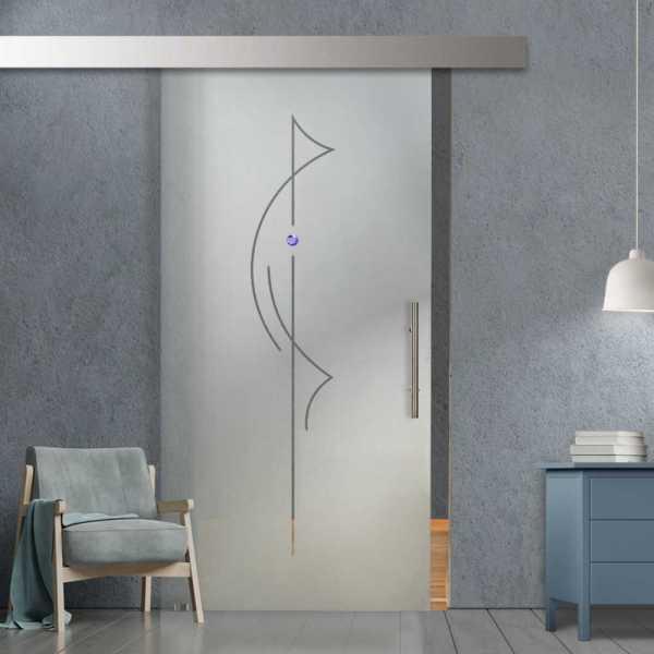 Glass Barn Door (Model SGD-ALU100-0255 Semi-Private)
