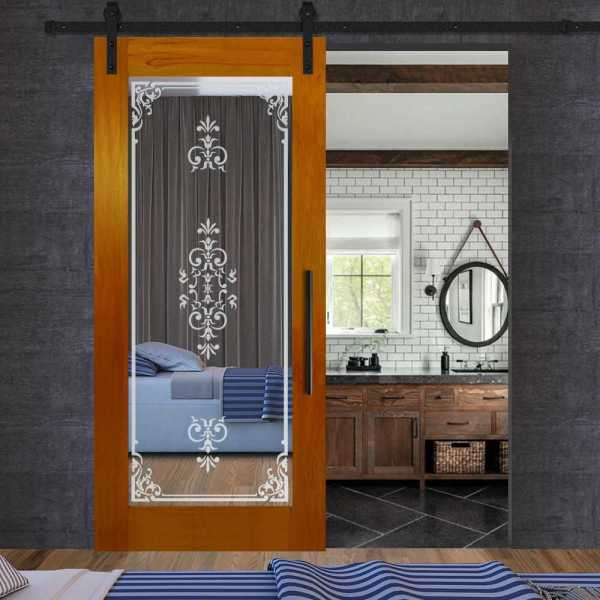 Solid magohany wood door with mirror insert (frosted design) and carbon steel sliding system