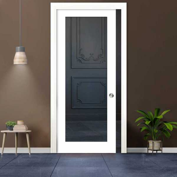 Clear Sliding Pocket Wood Door with Glass Insert PWGD-0021