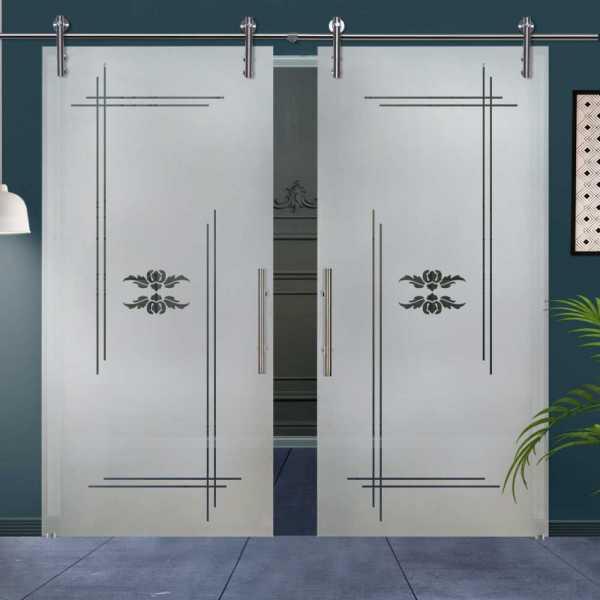 Double Sliding Glass Barn Door DSGD-V1000-0012