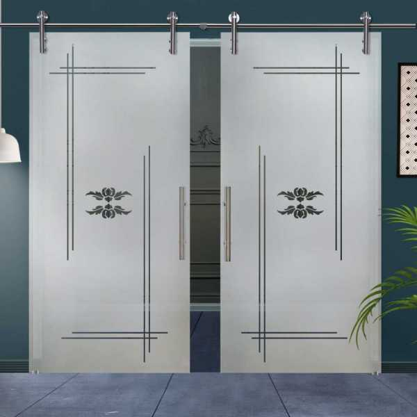 Double Glass Barn Door (Model DSGD-V1000-0012 Semi-Private)
