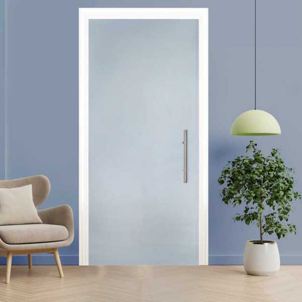 Frosted Pocket Glass Sliding Door with Frosted Design (Open to Left)