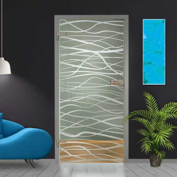 """Hinged Glass Door HGD-H+H-0052, 36""""X96"""", Glass Thickness: 10mm and Full Private Design"""