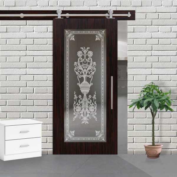 Veneered Sliding MDF Wood Barn Door with Mirror Insert VWGD-0045
