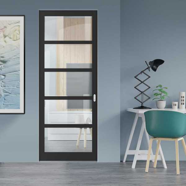 Industrial Style Pocket Door with Clear Glass 5 Panels & Oval Stainless Steel Grip Handle